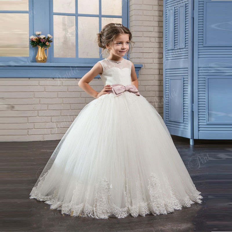 Flower     Girl     Dresses   Beading O-neck Lace Up Bow Sash Sleeveless Ball Gown Custom Made First Communion Gown Vestidos Longo