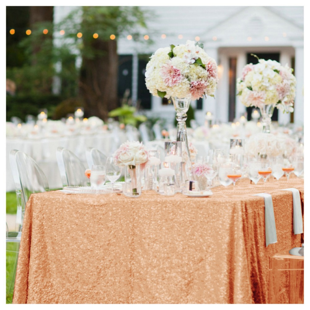 225x390cm Sequin Table Cloth, Rose Gold Sequin Tablecloth, 90x156in Sequin Table Overlay for Wedding Party/Christmas Party r