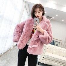 Şık yaka 2 kemer düğmesi uzun tüylü Shaggy Faux tavşan kürk kısa ceket kış kadın sıcak tutmak gevşek sahte kürk ceket giyim