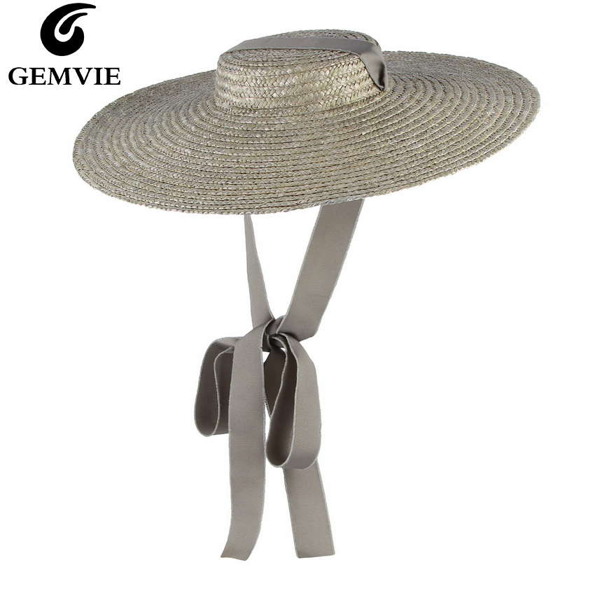 GEMVIE 3 Color Wide Brim Flat Top Straw Hat Summer Hats For Women Ribbon Beach Cap Boater Fashionable Sun Hat With Chin Strap