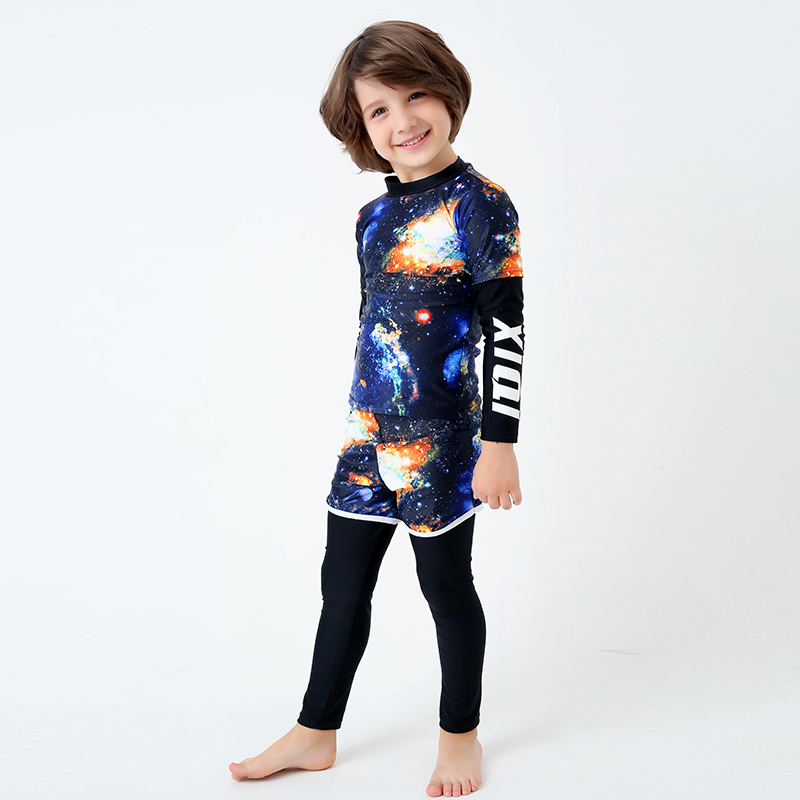 54db736b90 Surfing Two Piece Swimsuit Boy New Long Sleeves Swimwear Kids Long Pants  Beach Bathing Suit Child Print Stars Letter Swim Wear-in Body Suits from  Sports ...