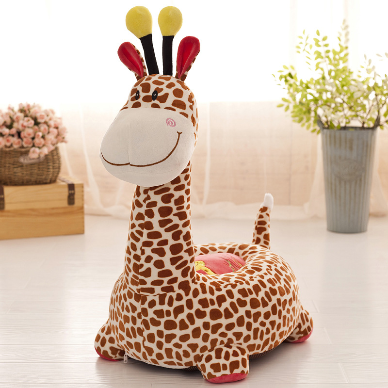 Creative Giraffe Kids Sofa PP Cotton Filler Kids Bean Bag Soft Lazy Tatami Baby Chair Cartoon Puffs Children Seat Cute Plush Toy