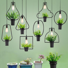 Creative Pastoral Bar Personality Music Theme Restaurant LED Light Cafe Internet Cafe Restaurant Green Plant Pendant Lights