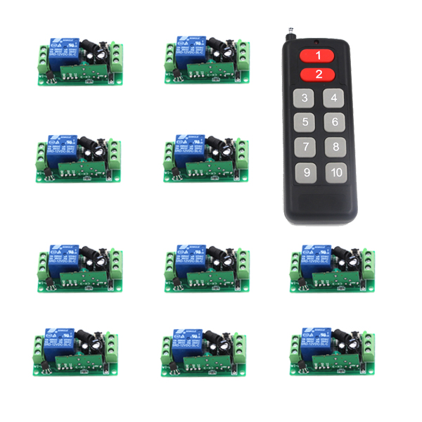 MITI DC 12V 1Ch RF Relay Remote Switch for Home Motor LED Smart Control 433Mhz 1Transmitter+10Receiver SKU: 5165