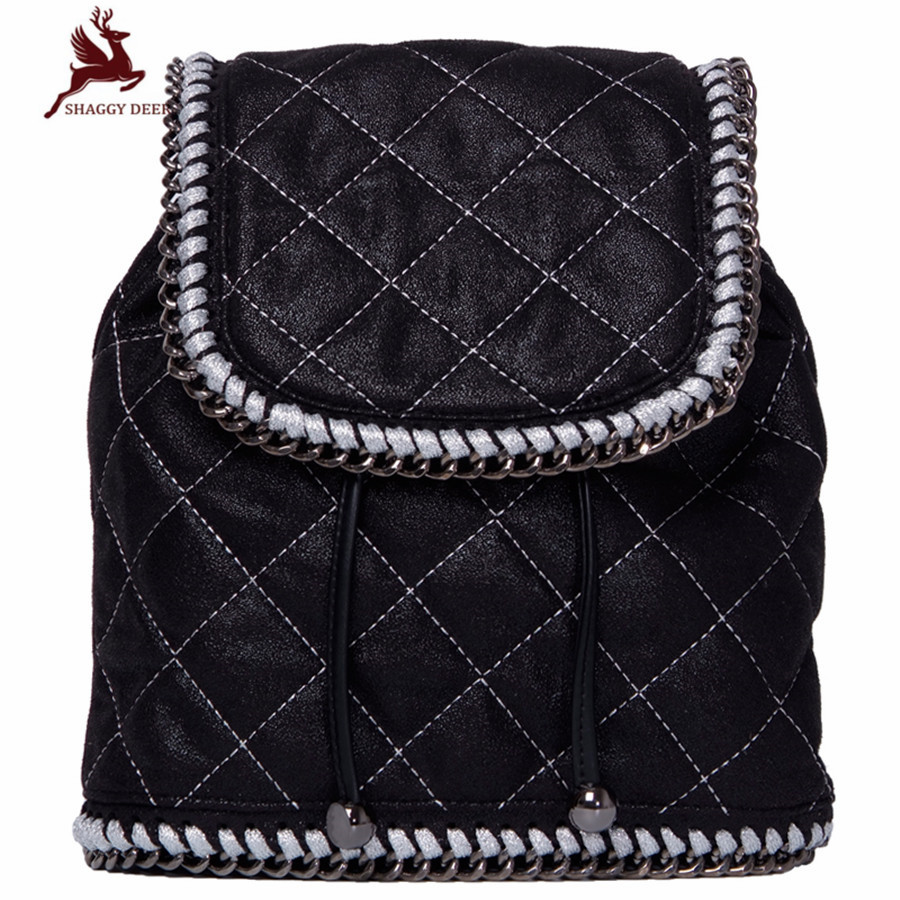 2017 Shaggy Deer Brand Quilted PVC Bucket Backpack Small Hasp Drawstring Chain Ctelle Backpack School College Lovely  Bag mini gray shaggy deer pvc quilted chain bag with cover real picture
