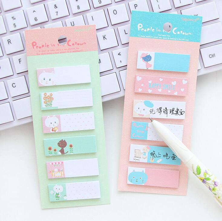 Cute Cat Town Mini Memo Pad N Times Sticky Notes Escolar Papelaria School Supply Bookmark Label