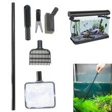1 Set Multifunctional Aquarium Cleaning Tools Fish Tank Glass Algae Brush Fish Tank Brush Gravel Rake Net Fork Cleaner
