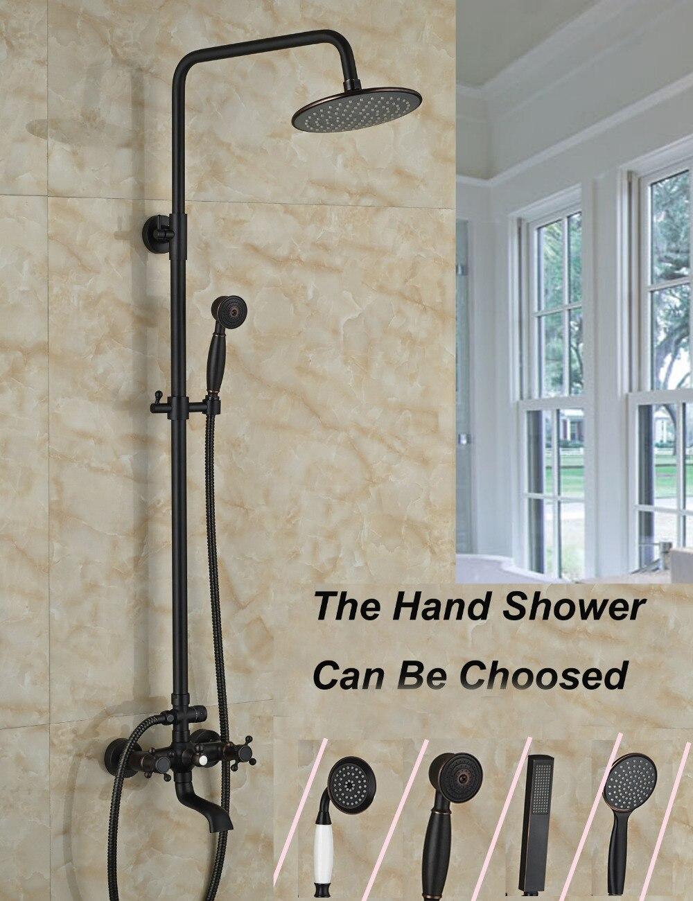 Oil Rubbed Bronze Dual Handles Rain Shower Faucet Round Shower Head ...