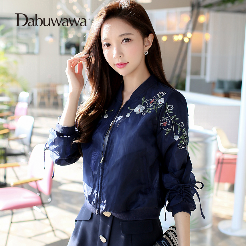 Dabuwawa Dark Blue Spring Short Bomber Jacket Floral Embroidery Jacket Women Long Sleeve Casual Baseball Coat 1