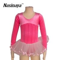Kid Girls Rhythmic Gymnastics Leotard RG Fitness Wear Long Sleeves Ballet Tutu Dress Dance Children Training Clothes Velvet