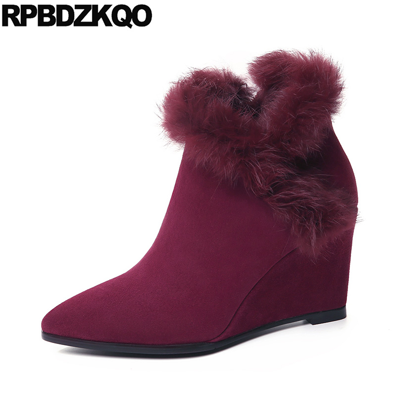 High Quality Booties 2017 Heel Boots Fall Wedge Pointed Toe Suede Luxury Brand Shoes Women Wine Red Real Fur Ankle Short New frank buytendijk dealing with dilemmas where business analytics fall short
