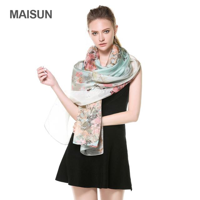 [MAISUN] alta Qualidade Tecidos de Seda Fina Xale Grande Tamanho 100% Paj Lenços de Seda Primavera E No Outono Mulher Lenço De Seda