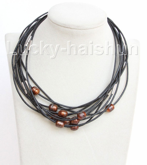 wholesale 10 piece 11mm coffee FW pearls Black leather necklace j10712