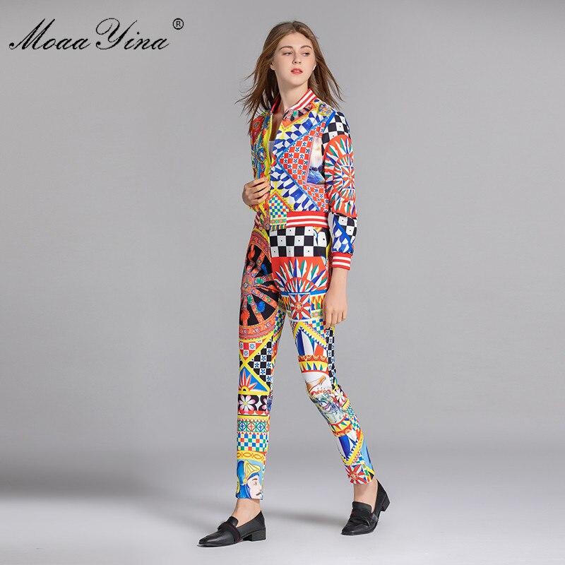 Plaid pièce Pantalon Imprimé Multi Zipper Floral À Manches Longues Moaayina Printemps Femmes Costume Tops Deux Vintage Élégant Mode Scénographe w6WqzHa