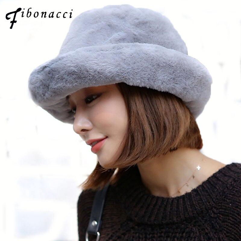 Eimer-hüte Genossenschaft Fibonacci Frauen Winter Crimpen Eimer Hut Dicke Warme Elegant Einfarbig Pelzmützen Damen Fashion Caps Reich Und PräChtig
