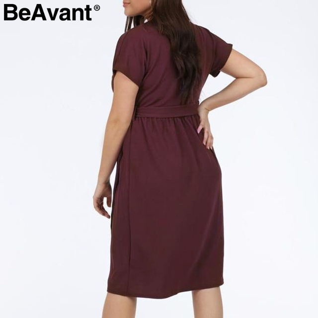 BeAvant Casual women plus size dress summer 2019 V neck short sleeve high waist dress female Buttons loose midi dress vestidos 3