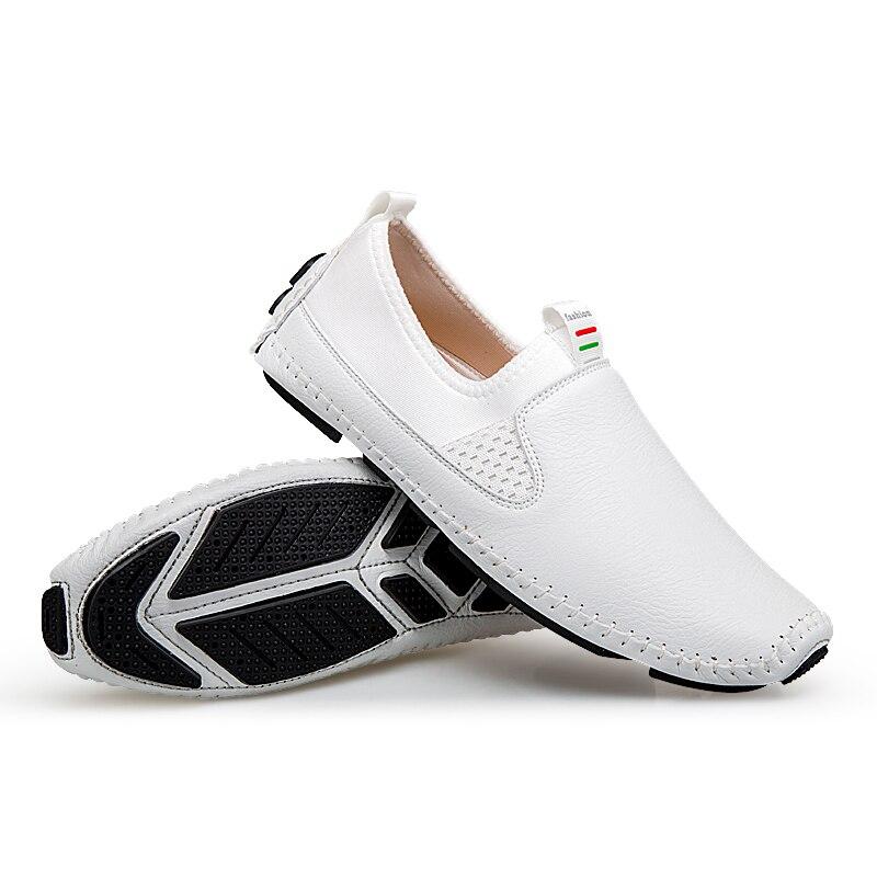 Sapato Mocassins Tissage Souple La En De Casual white Black Slip Yeinshaars Chaussures À Cuir Main on Appartements Hommes Pour Conduite Classique blue S6wAOU