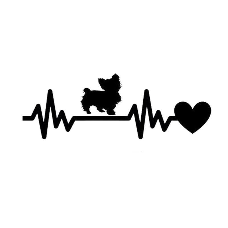 19*6.7CM Yorkie Dog Heartbeat Car Stickers Waterproof Vinyl Decal Car Styling Truck Decoration Black/Silver S1-0850