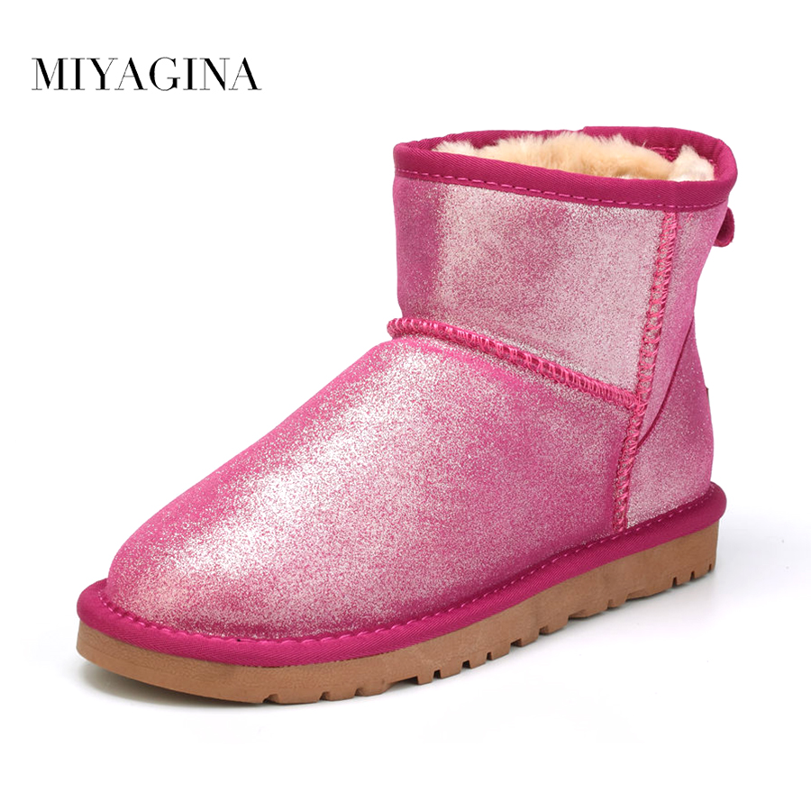 MIYAGINA 2017 Genuine leather Snow boots Winter Warm Shoes High Quality Natural Fur Women Boots ankle boots botas mujer ugz quality women winter boots genuine leather black snow boots high waterproof tall warm shoes botas feminina inverno