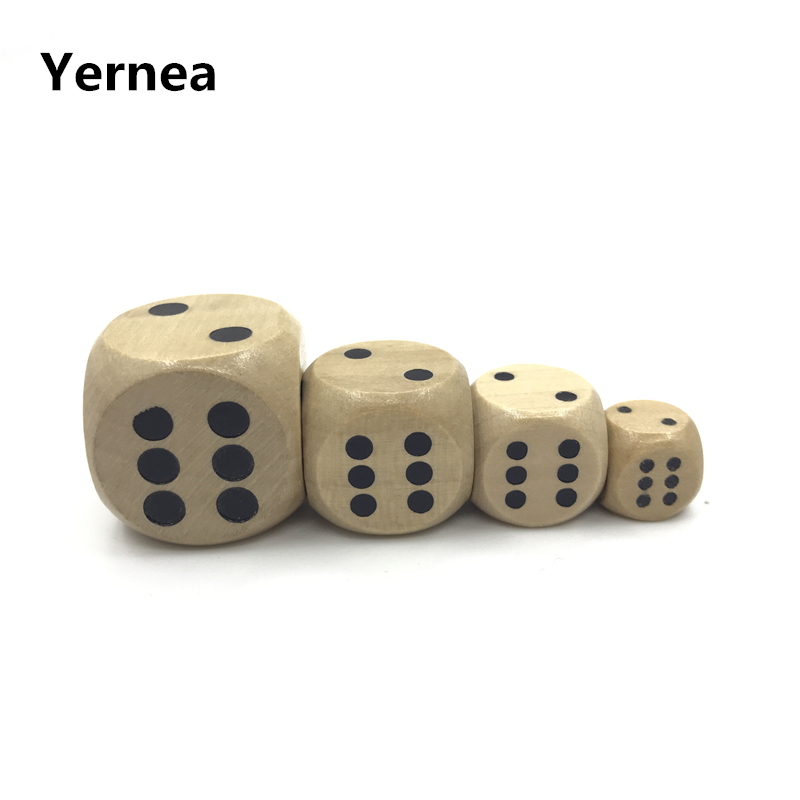 Yernea 50Pcs High quality 12mm 16mm 20mm 25mm Wooden Dice Children Teaching DIY Standard Cube Point Soild Wood Dice Wholesale in Dice from Sports Entertainment