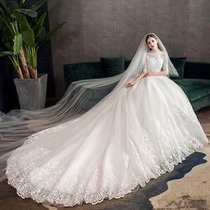 Image 4 - חדש Vestido דה Noiva חצי שרוול רויאל רכבת חתונת שמלה גבוהה צוואר Applique תחרת כדור שמלת כלה הכלה שמלת Robe דה Mariee