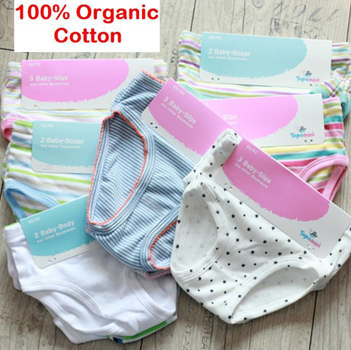 fa5b0729d992 Germany brand Topolino 9pcs/lot 100% organic cotton mix solid stripes boy  girl kids infant underwear baby briefs panties clothes