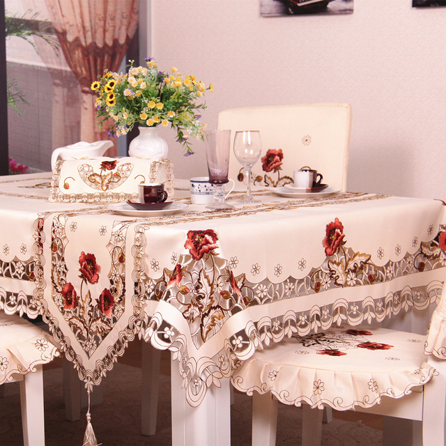 Su0026V European luxury Polyester Embroidery Floral Tablecloth christmas Table linen Cloth Cover Overlays toalhas de mesa & Su0026V European luxury Polyester Embroidery Floral Tablecloth christmas ...
