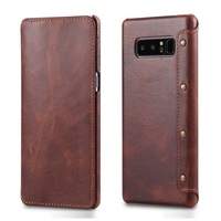 Solque Real Genuine Leather Flip Wallet Cover Case For Samsung Galaxy Note 8 Note8 Cell Phone Luxury Vintage Card Holder Cases