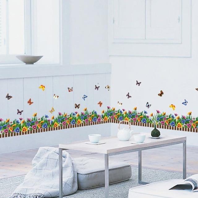 Nieuwe bloemen vlinders woonkamer decor slaapkamer kinderkamer plint ...