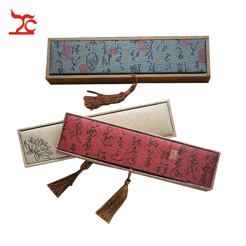 Retro Luxury Tassel Linen Pendant Box Rectangular Flax Calligraphy Lotus Screen Pendant  Bracelet Pear Chain Storage Box24*6*4cm