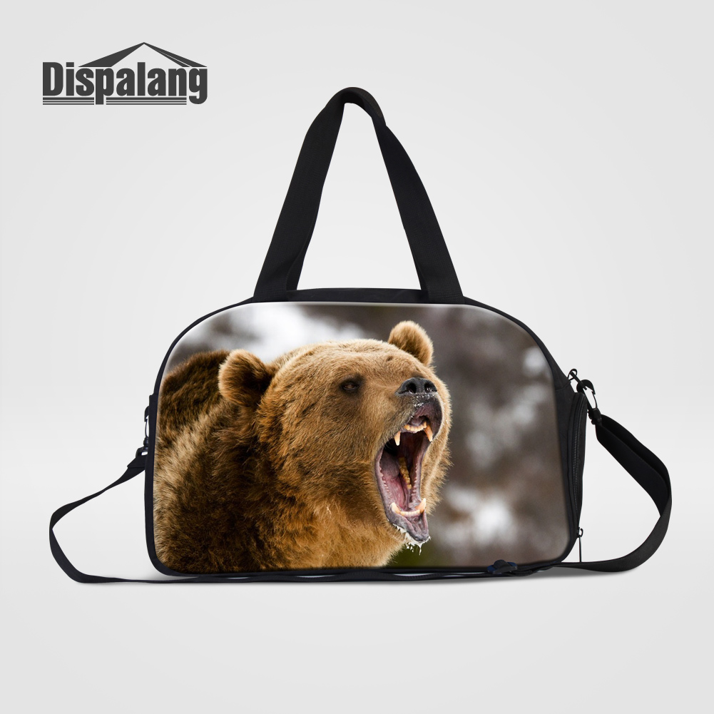 Dispalang Fashion Men's Travel Duffel Bags Bear Printing Canvas Weekend Bag With Handle Lightweight Duffle Bags Male Luggage Sac