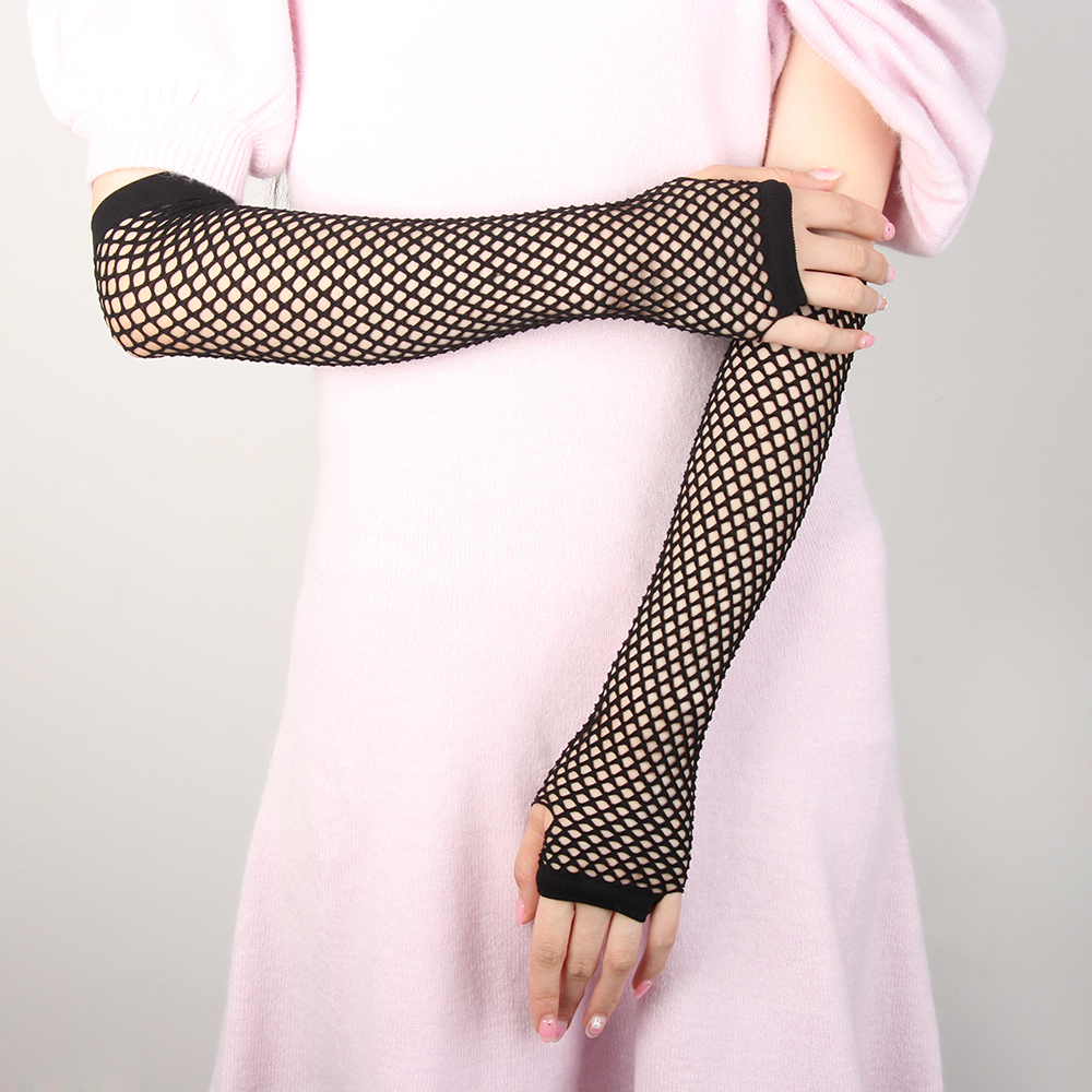 Women Gloves Dance-Costume Mesh Disco Fingerless Punk Goth Sexy Ladies Hollow-Out-Holes