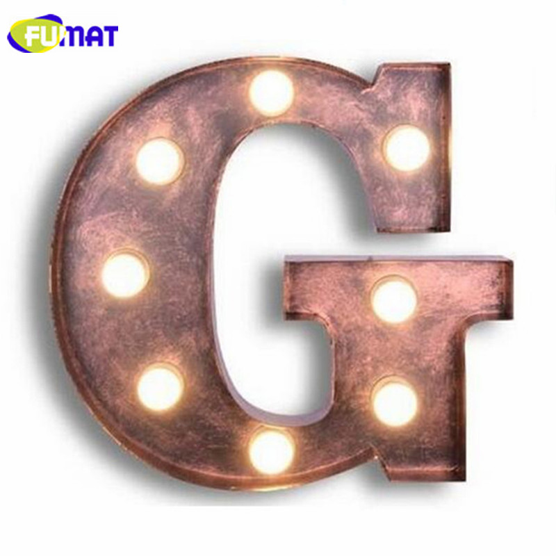 FUMAT Letters G Wall Lamps Vintage Company Logo Wall Light Project Brand Design Metal Letter Lamp Living Room Art Deco Sconces