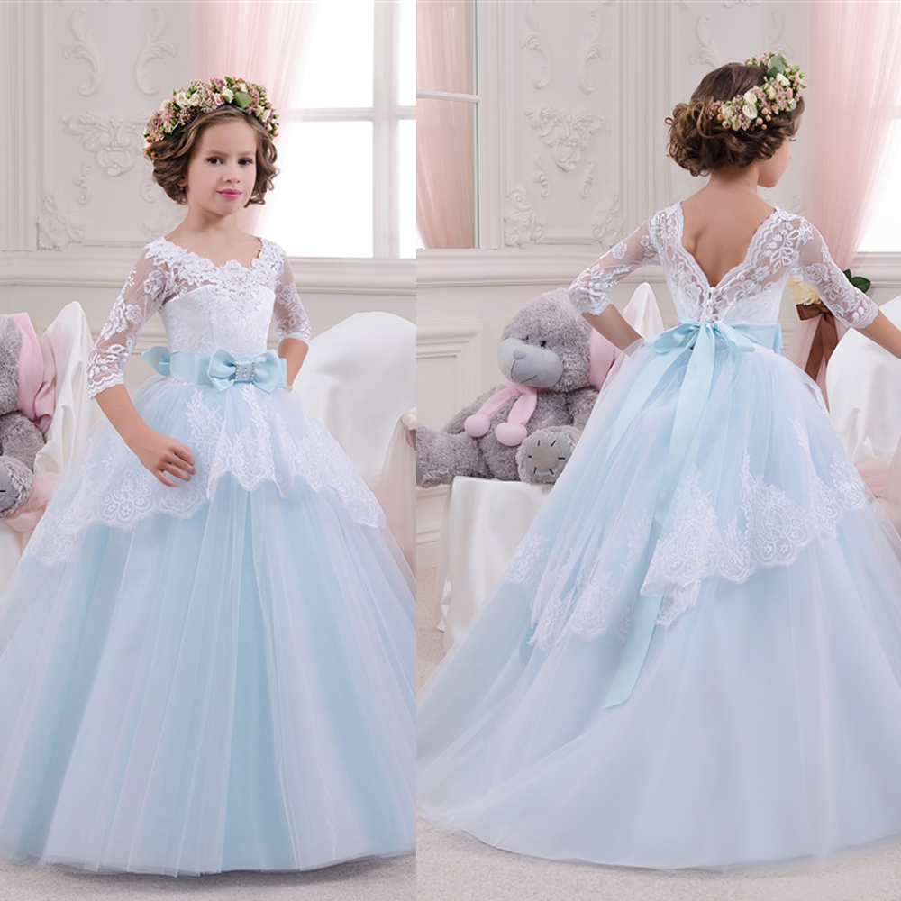 Buy blue little flower girls dress 2016 for Little flower girl wedding dresses