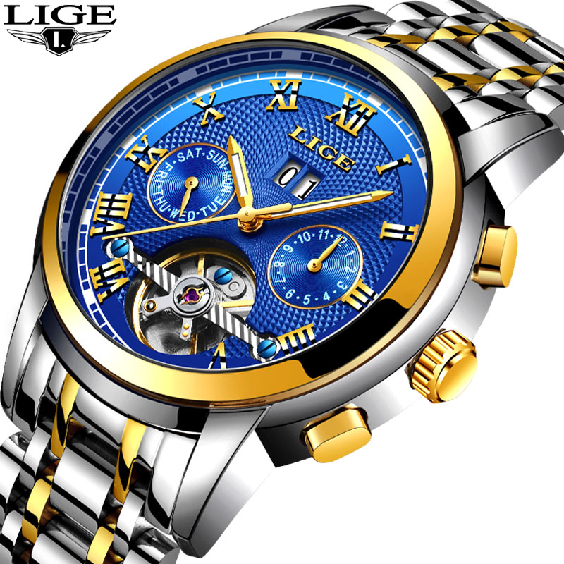 Relogio Masculino LIGE Mens Watches Top Brand Luxury Automatic Mechanical Watch Men Full Steel Business Waterproof Sport Watches lige top brand luxury mens watches automatic mechanical watch men full steel business waterproof sport watches relogio masculino