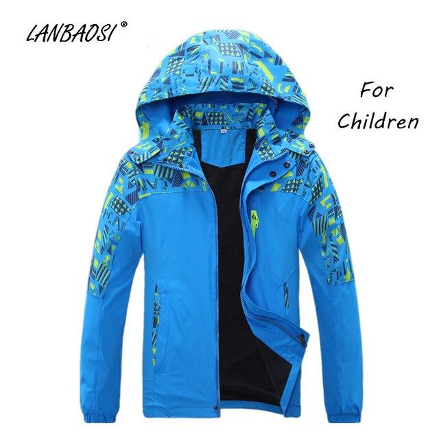 590cd3e128 LANBAOSI Camo Softshell Jackets for Boys Girls Children Kids Fleece Windproof  Waterproof Outdoor Hiking Climbing Camping Hoodies