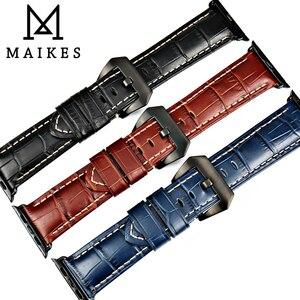 Image 5 - Maikes moda azul pulseira de couro para apple assistir banda 44mm 40mm 42mm 38mm série 4 3 2 iwatch pulseira pulseiras