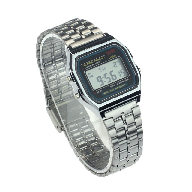 Vintage Womens Men Stainless Steel Digital Alarm Stopwatch LED Wrist Watch Luxury Bracelet relogio feminino women watches montre