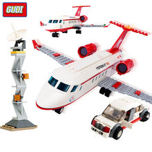 334Pcs City Airplane Air Bus Building Blocks Sets Plane Car Bricks Figures DIY Aviation Technic Educational Toys for Children(China)