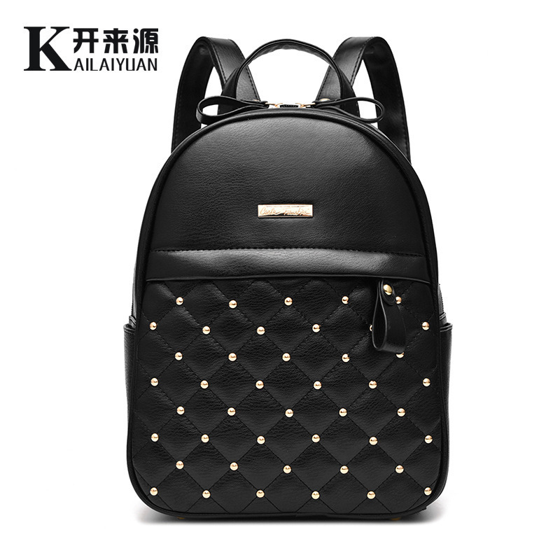 vintage casual rivet small PU leather travel bags high quality new kids fashion women candy clutch famous brand school backpacks