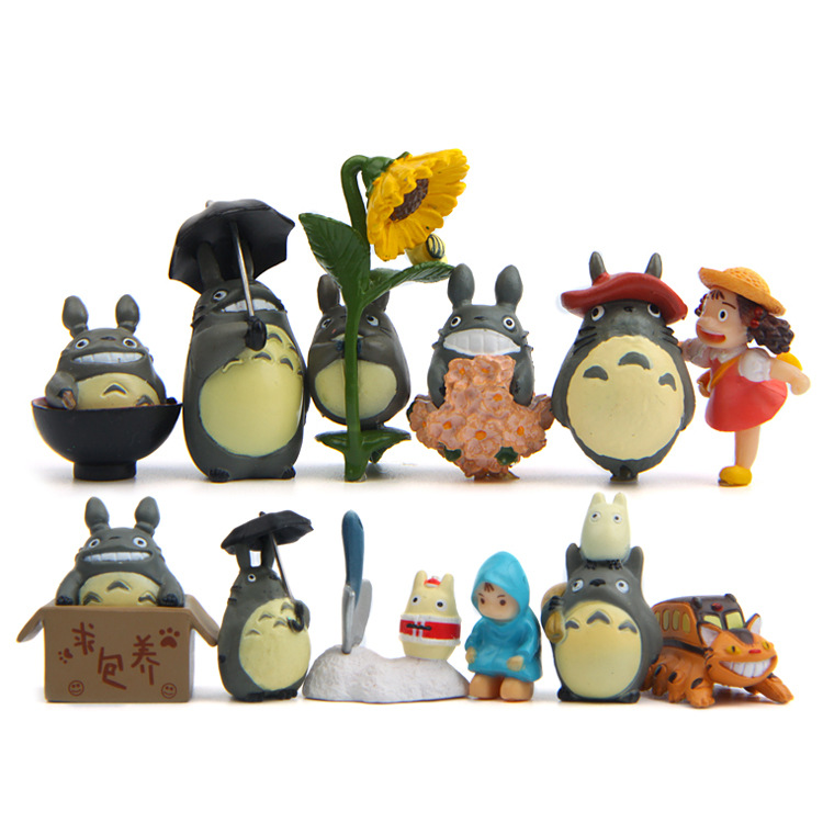 12pc/lot Hot Sale Totoro Action Figures Toys Dolls Japanese Cartoon Toys Models Cute Desk Toys Christmas Toys For Children Dolls