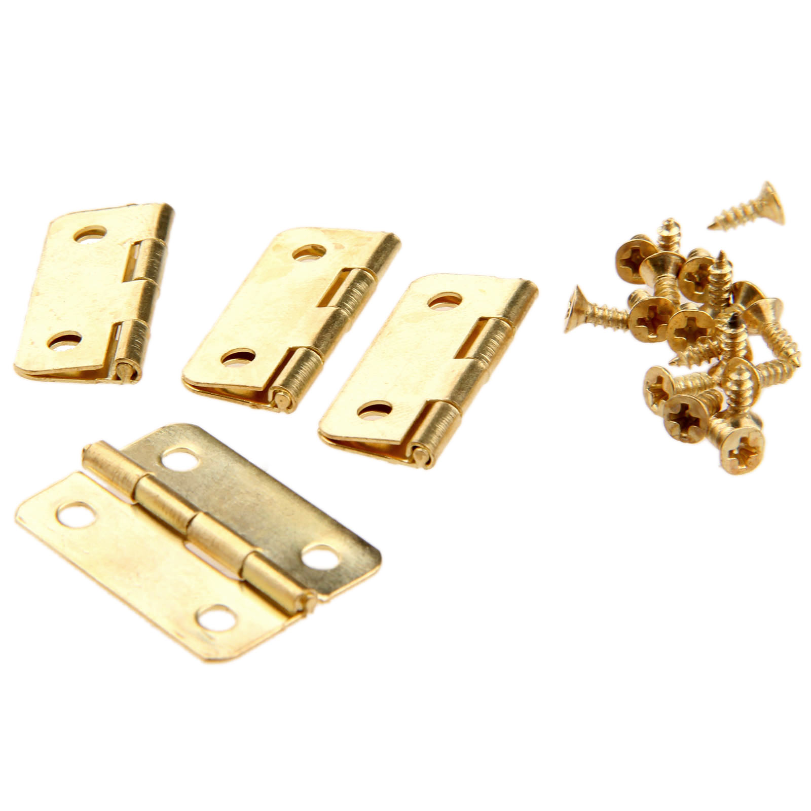 4Pcs 24x18mm 1 quot Kitchen Cabinet Door Hinges Furniture Accessories 4 Holes Gold Drawer Hinge for Jewelry Boxes Furniture Fittings in Cabinet Hinges from Home Improvement