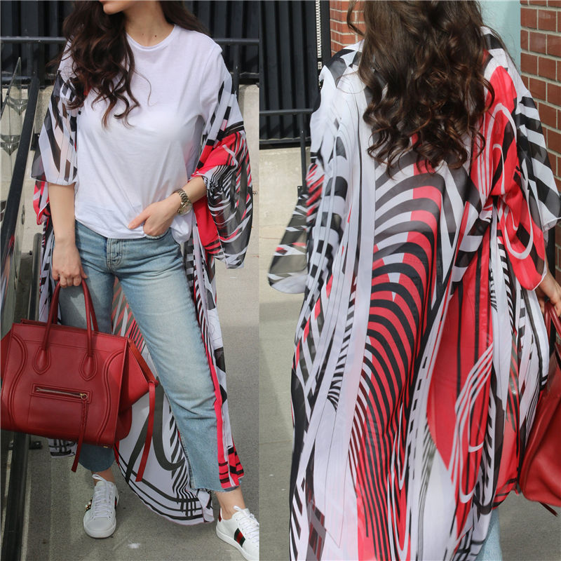 2019 Bohemian Multicolored Printed Plus Size Women Summer Sexy See Through Chiffon Kimono Cardigan Long Tops   Blouses     Shirts   N688