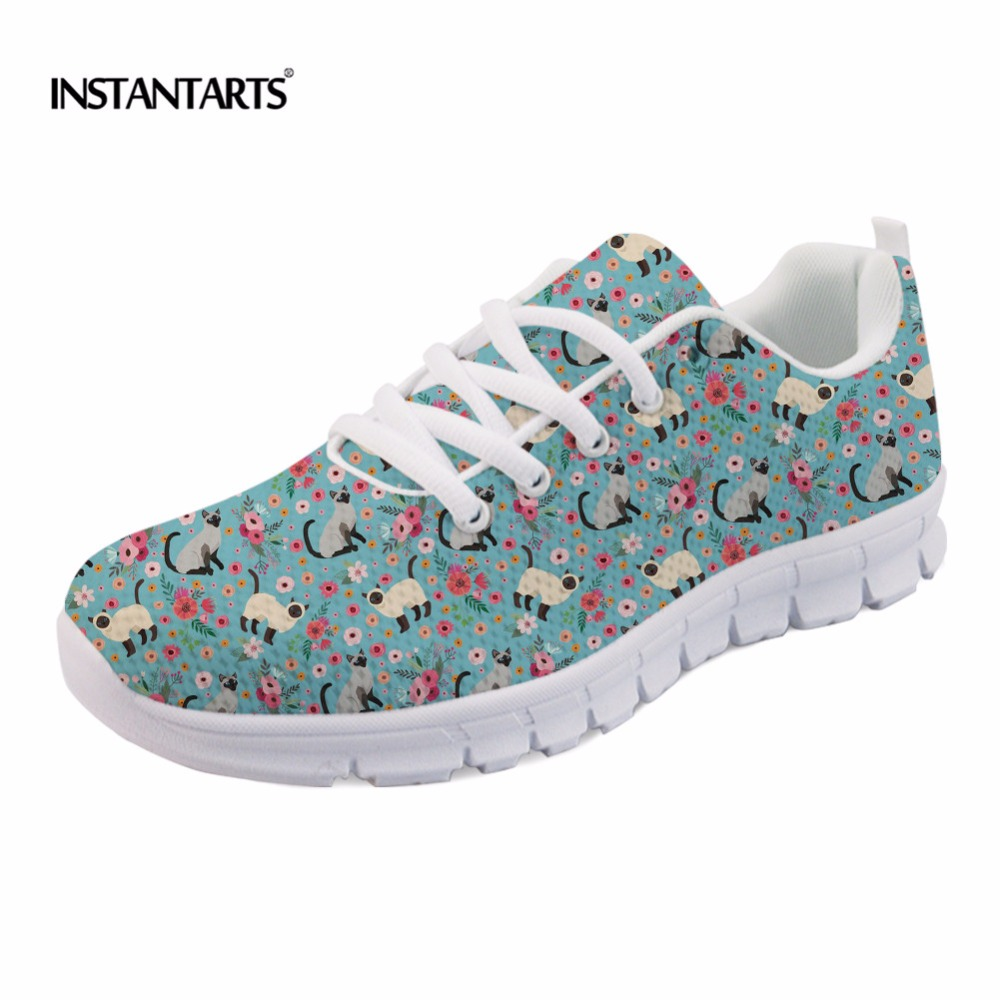INSTANTARTS Cute Siamese Cat/kitty Flower Pattern Women Breathable Flats Shoes Fashion Girls Lace-up Sneakers Casual Mesh Shoes instantarts cute glasses cat kitty print women flats shoes fashion comfortable mesh shoes casual spring sneakers for teens girls