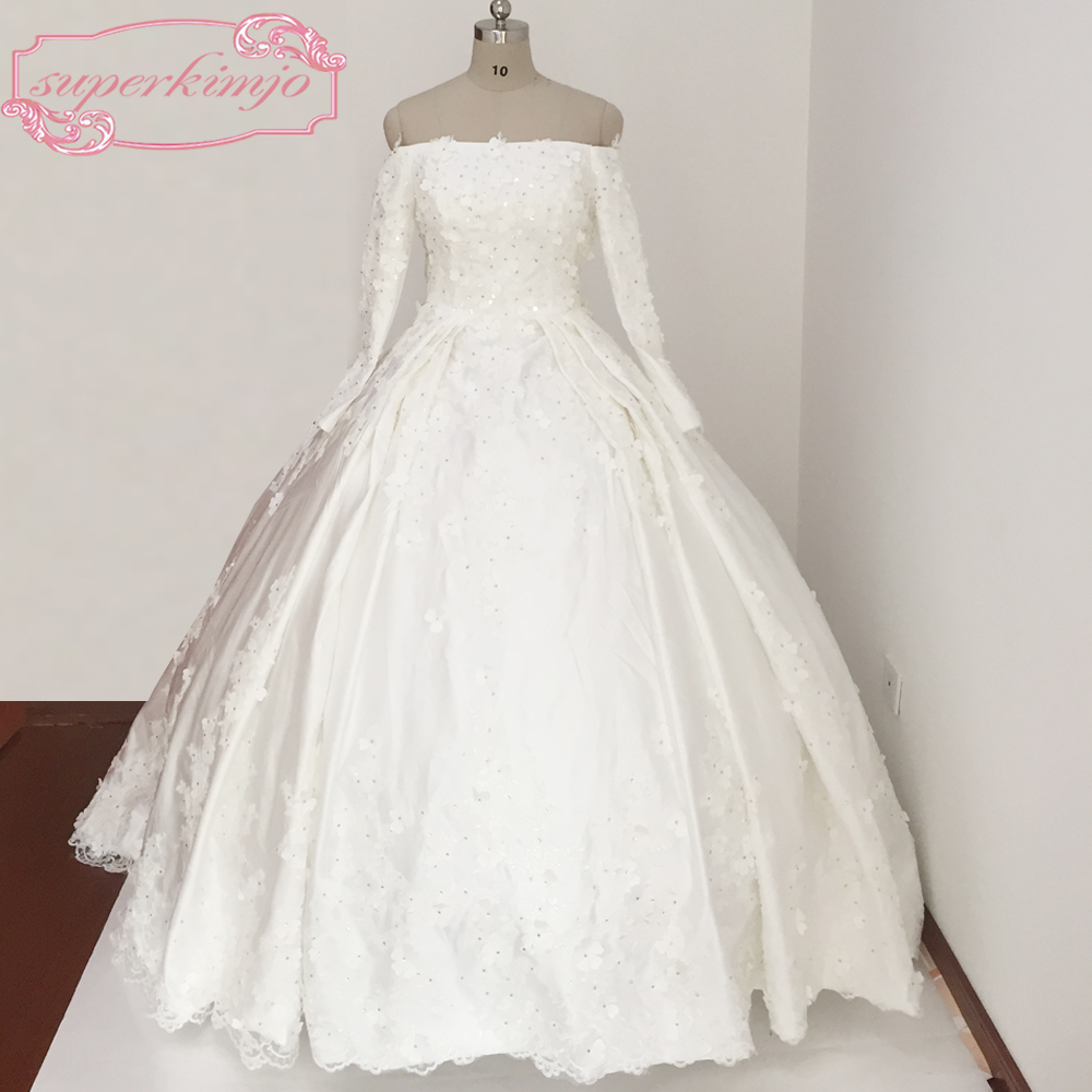 Wedding Gowns Chapel Train Lace Hand Made Flowers Satin
