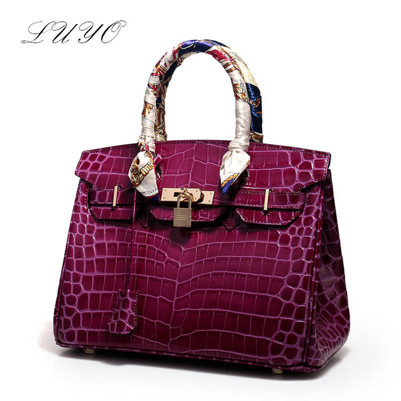 ФОТО Luyo Limted Luxury Handbags High Quality Women Top-handle Bags Designer Alligator Platinum Genuine Leather Cowhide Large Tote