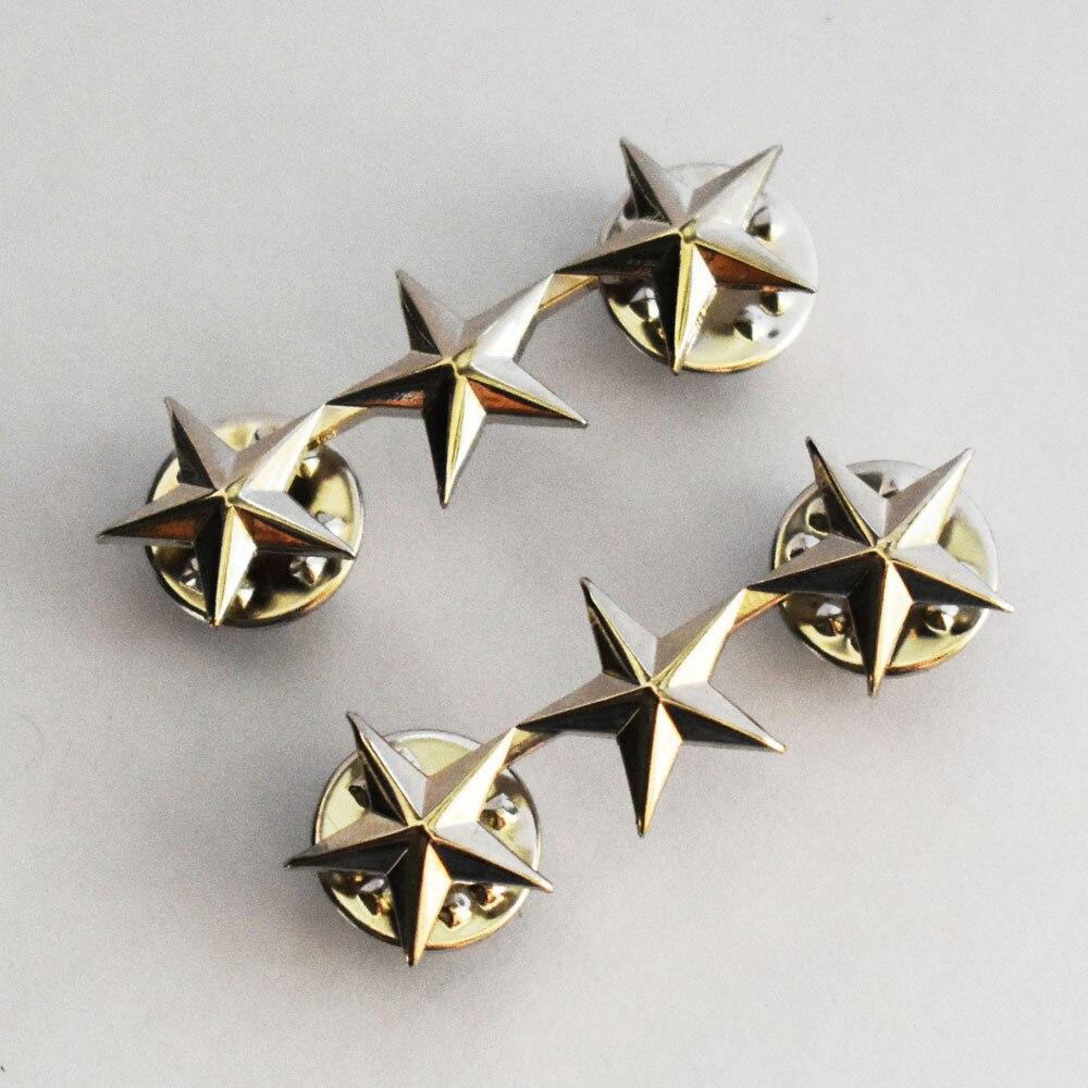 WW2 PAIR OF US OFFICER 3 STAR LIEUTENANT GENERAL RANK BADGES PIN SILVER-50038