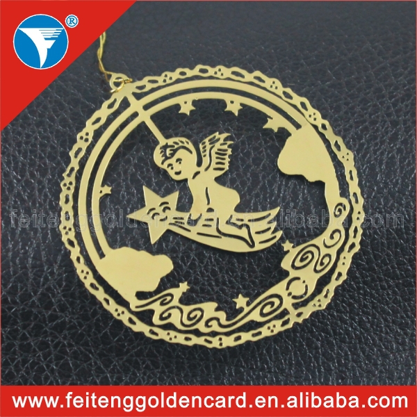 wholesale hollow out christmas item gold plating round angel custom metal christmas ornaments - Metal Christmas Ornaments