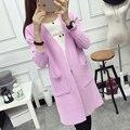 Nuevo 2016 Las Mujeres de Punto Más El Tamaño de la Moda Abrigo de Lana de Cachemira Suéter de La Rebeca Femenina Suéter Flojo de Manga Larga Con Bolsillos JN832
