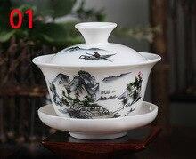 Las tradiciones chinas gai wan té juego de Té de Porcelana Establece Dehua gaiwan té olla de porcelana para hervidor de viaje Hermoso y fácil